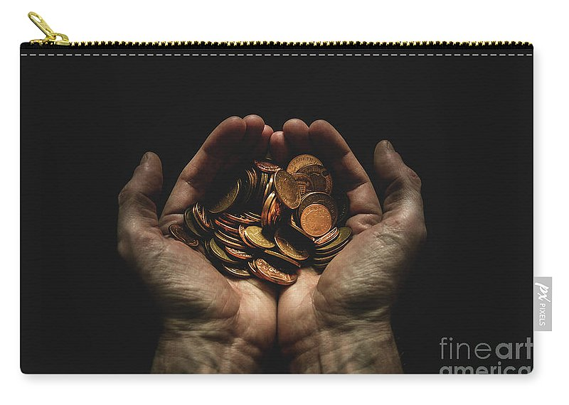 Coin Carry-all Pouch featuring the photograph Hands Holding Coins Against Black by Andy Kirby