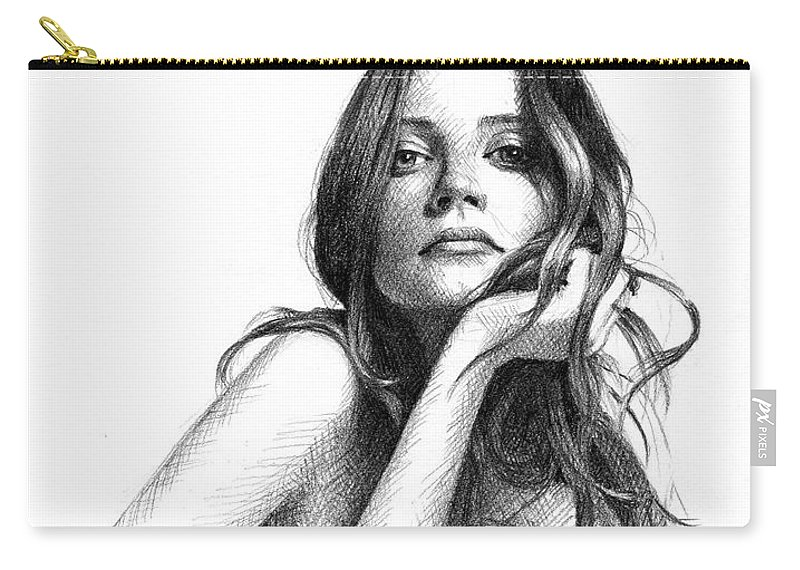 Mood Expression Beauty Model Drawing Graphite Portrait Carry-all Pouch featuring the drawing Hannah by Jason Reisig