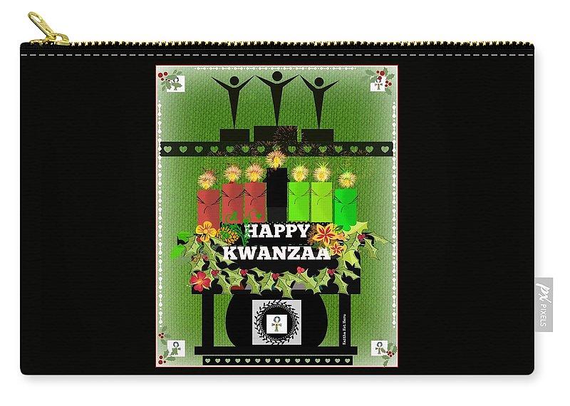 Kwanzaa Carry-all Pouch featuring the digital art Happy Kwanzaa by Kaitha Het Heru
