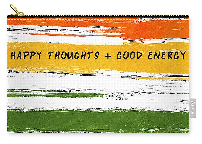 Rainbow Carry-all Pouch featuring the mixed media Happy Thoughts Rainbow- Art By Linda Woods by Linda Woods