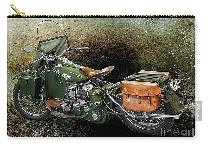 Harley Davidson Carry-all Pouch featuring the photograph Harley Davidson 1942 Experimental Army by Barbara McMahon