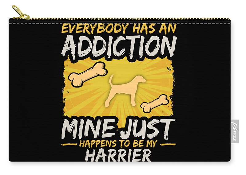 Funny-dog-breed Carry-all Pouch featuring the digital art Harrier Funny Dog Addiction by Passion Loft