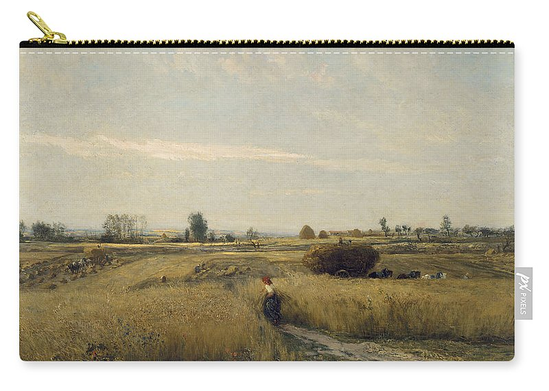Charles-françois Daubigny Carry-all Pouch featuring the painting Harvest by Charles Fran ois Daubigny