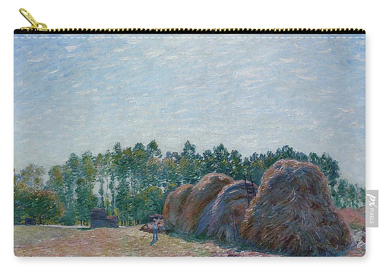 Alfred Sisley Carry-all Pouch featuring the painting Haystacks At Moret - Morning Light, 1891 by Alfred Sisley