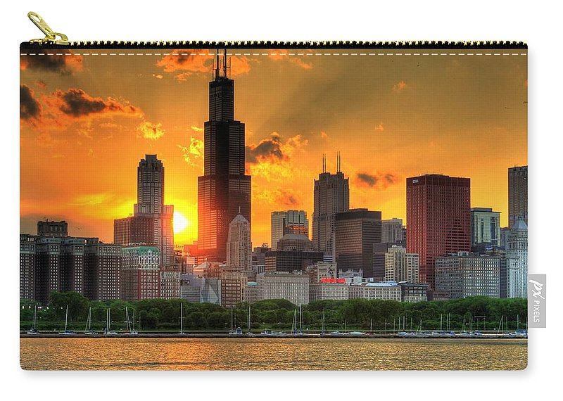 Tranquility Carry-all Pouch featuring the photograph Hdr Chicago Skyline Sunset by Jeffrey Barry