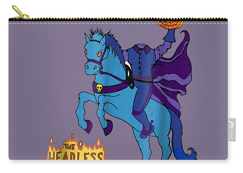 boys' Novelty Clothing Carry-all Pouch featuring the digital art Headless Horseman T Shirt Halloween 2017 Trick Or Treat Tee by Unique Tees