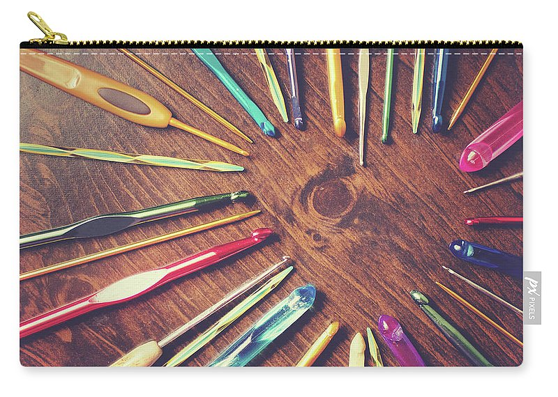 Wood Carry-all Pouch featuring the photograph Heart Of Crochet Hooks by Lisa Gutierrez