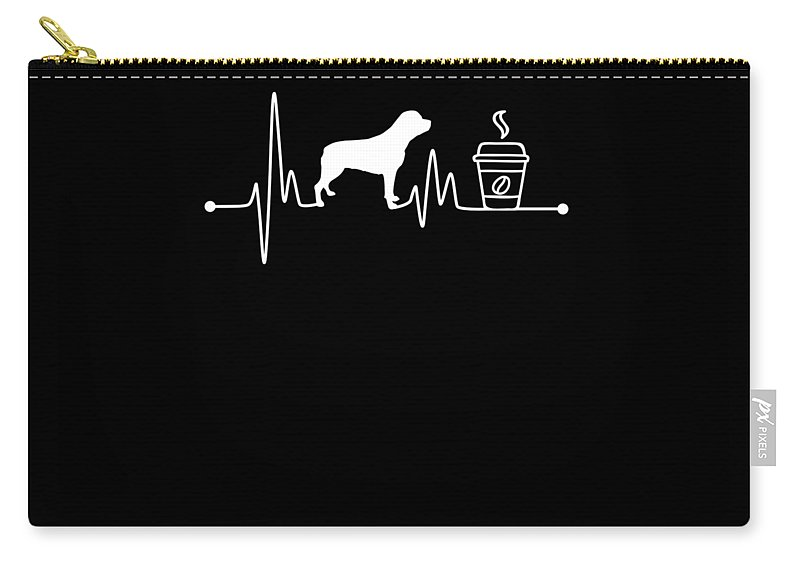 Rottweiler Carry-all Pouch featuring the digital art Heartbeat Ekg Pulse Rottweiler Coffee Lover by TeeQueen2603