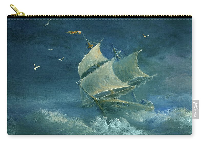 Image Carry-all Pouch featuring the digital art Heavy Gale by Pobytov