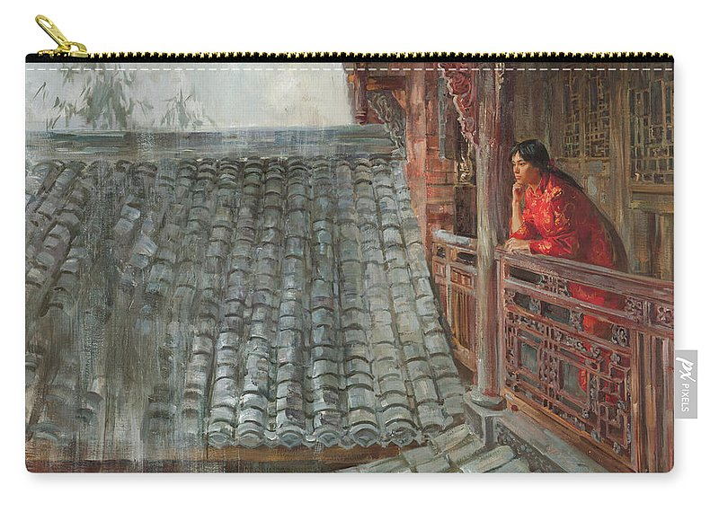 China Carry-all Pouch featuring the painting Heavy rain in Sichuan province by Victoria Kharchenko