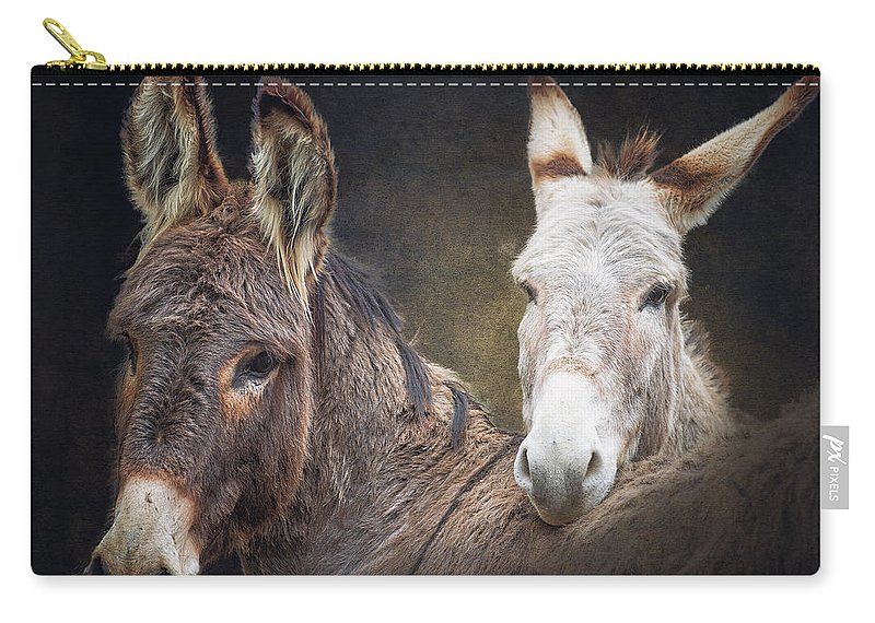 Burro Carry-all Pouch featuring the photograph Heckle And Jeckle by Ron McGinnis