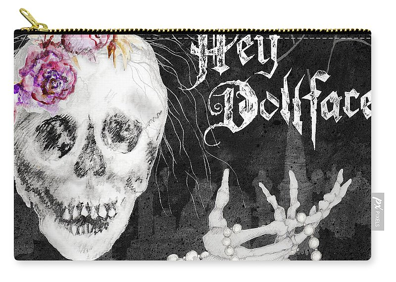 Halloween Carry-all Pouch featuring the mixed media Hello Dollface by Janice Gaynor