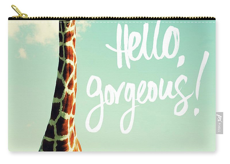 Hello Carry-all Pouch featuring the painting Hello Gorgeous Giraffe by Susan Bryant