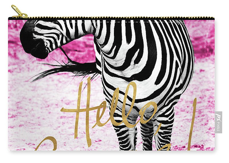 Hello Carry-all Pouch featuring the painting Hello Gorgeous Zebra by Gail Peck