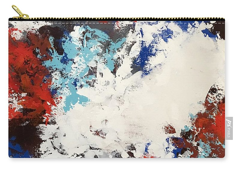 Abstract Painting Acrylic Carry-all Pouch featuring the painting Hello Red by Suzzanna Frank