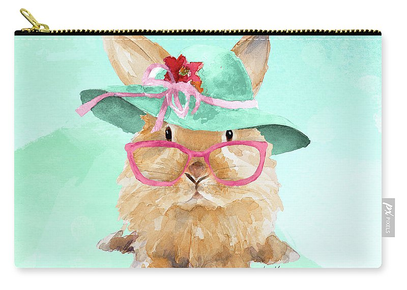 Hello Carry-all Pouch featuring the mixed media Hello Spring Bunny On Watercolor by Lanie Loreth