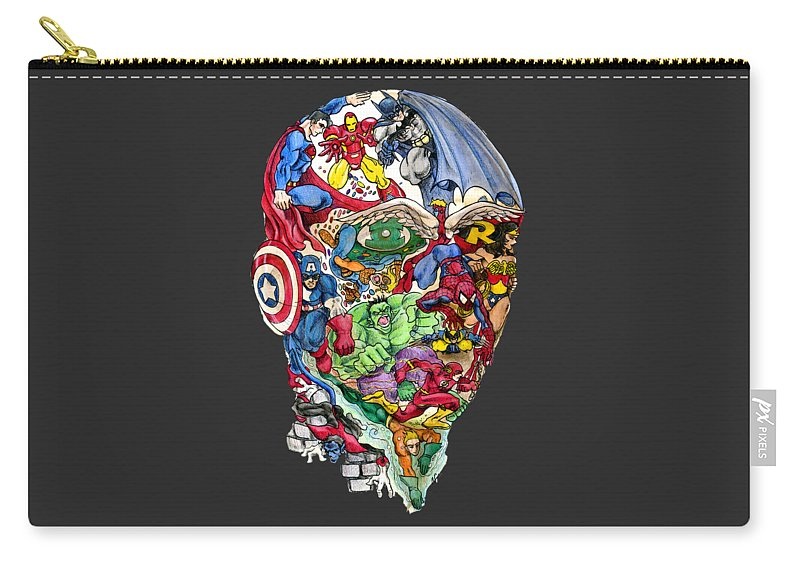 Superhero Carry-all Pouch featuring the drawing Heroic Mind by John Ashton Golden