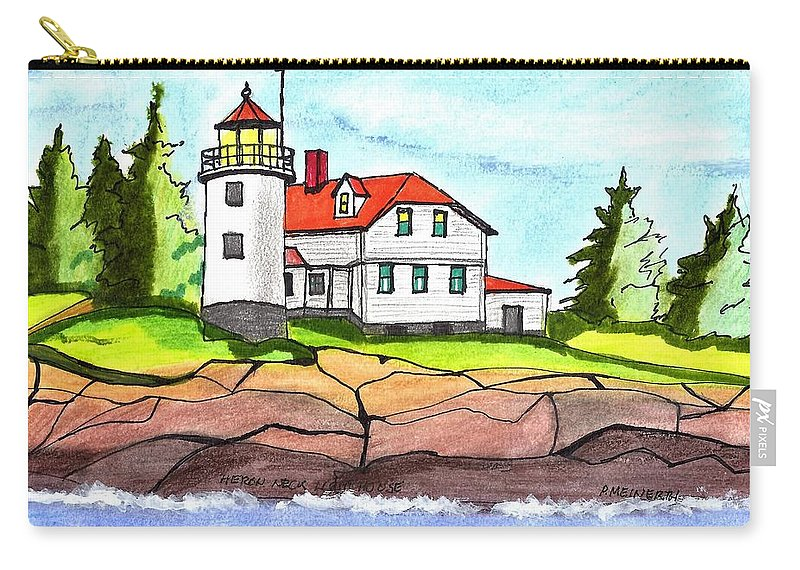 Paul Meinerth Carry-all Pouch featuring the drawing Heron Neck Lighthouse- Maine by Paul Meinerth