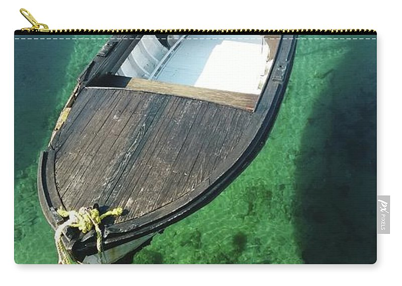 Tranquility Carry-all Pouch featuring the photograph High Angle View Of Boat Moored On Sea by Iva Saric / Eyeem