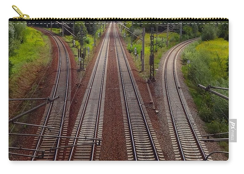 Tranquility Carry-all Pouch featuring the photograph High Angle View Of Empty Railroad Tracks by Thomas Albrecht / Eyeem
