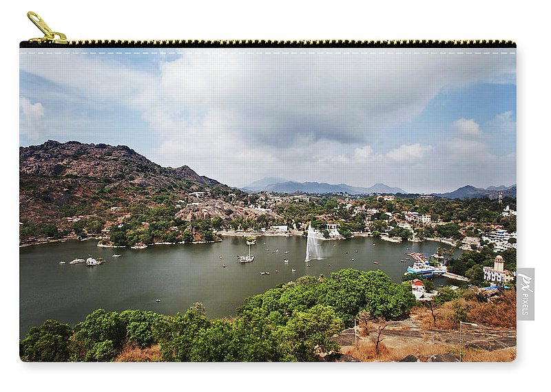 Tranquility Carry-all Pouch featuring the photograph High Angle View Of Fountain In Nakki by Uniquely India