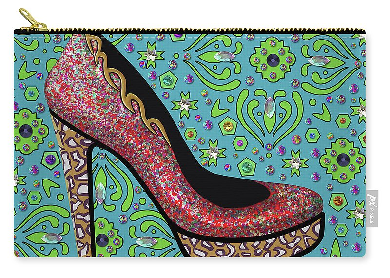 Gems Carry-all Pouch featuring the mixed media High Heel Party by Hyper Surrealism