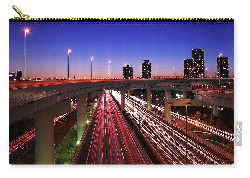 Two Lane Highway Carry-all Pouch featuring the photograph Highway At Night by Takuya Igarashi