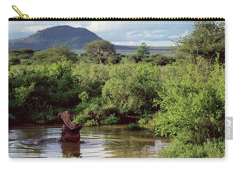 Scenics Carry-all Pouch featuring the photograph Hippopotamus Emerging From Water, Mouth by James Warwick
