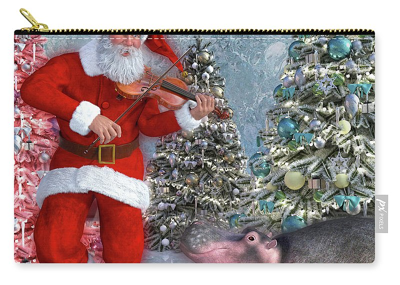 Hippo Carry-all Pouch featuring the digital art Holiday Hippo Dancing Cheer by Betsy Knapp