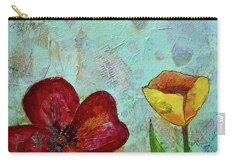 Wall Art Metal Prints Tulip Flower Tulips Red Yellow Blue Green Garden Tulip Festival Holland Holland Mi Michigan Red Flowers Yellow Flower Yellow Tulip Carry-all Pouch featuring the painting Holland Tulip Festival IIi by Shadia Derbyshire