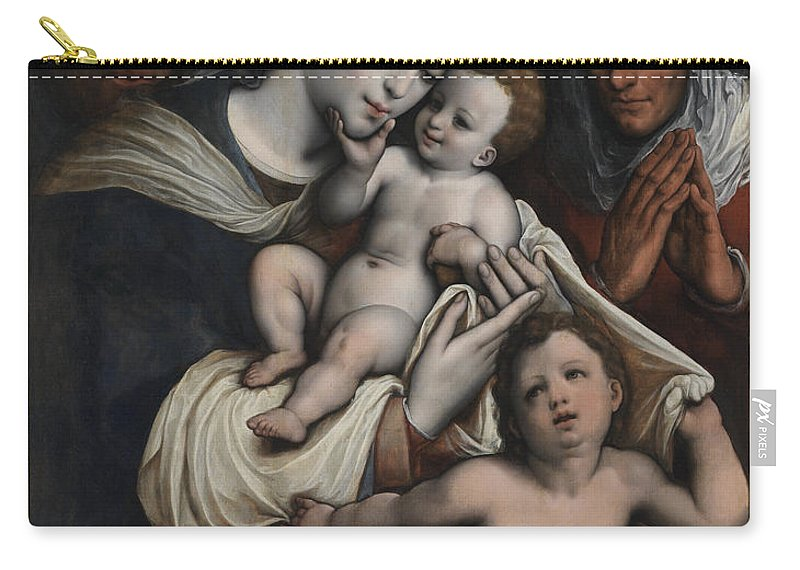 Cornelius Van Cleve Carry-all Pouch featuring the painting Holy Family With Elisabeth And John The Baptist by Cornelius Van Cleve