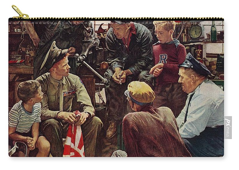 Flags Carry-all Pouch featuring the drawing Homecoming Marine by Norman Rockwell