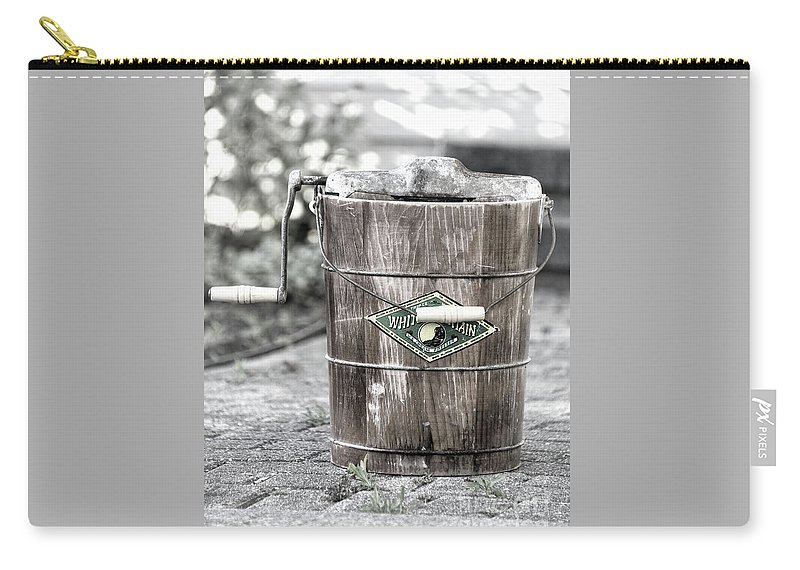 Ice Cream Carry-all Pouch featuring the photograph Homemade Ice Cream Antique Freezer by Sharon McConnell