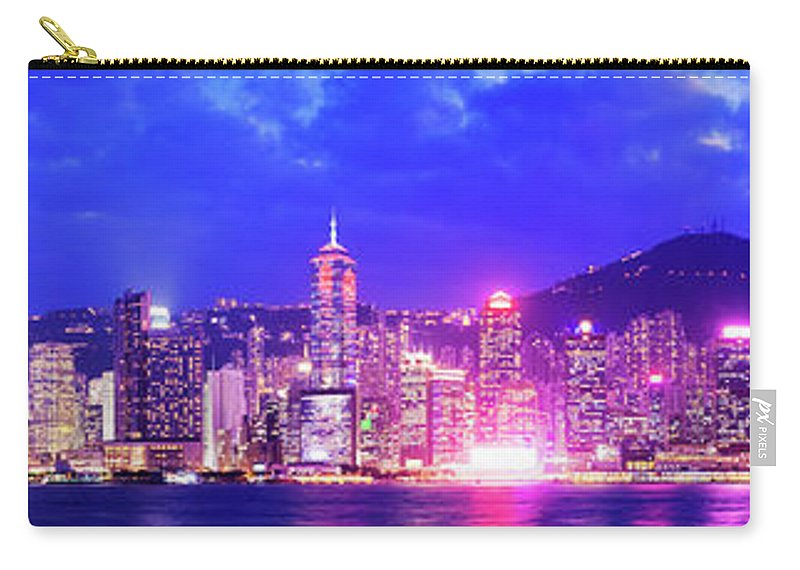 Downtown District Carry-all Pouch featuring the photograph Hong Kong City Skyline In China by Deejpilot