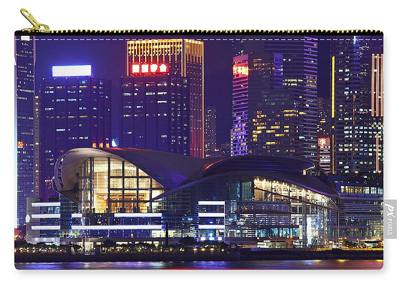 Corporate Business Carry-all Pouch featuring the photograph Hong Kong Island At Night by Ngkaki