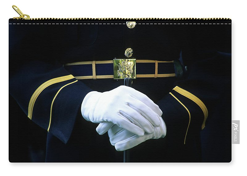Rifle Carry-all Pouch featuring the photograph Honor Guard Holding Rifle, Arlington by Hisham Ibrahim