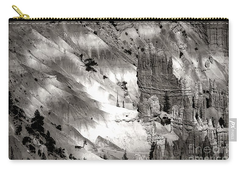 Bryce Canyon National Park Carry-all Pouch featuring the photograph Hoodoo's Black White Utah by Chuck Kuhn