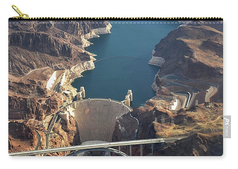 Scenics Carry-all Pouch featuring the photograph Hoover Dam Aerial by Iwcrabbe