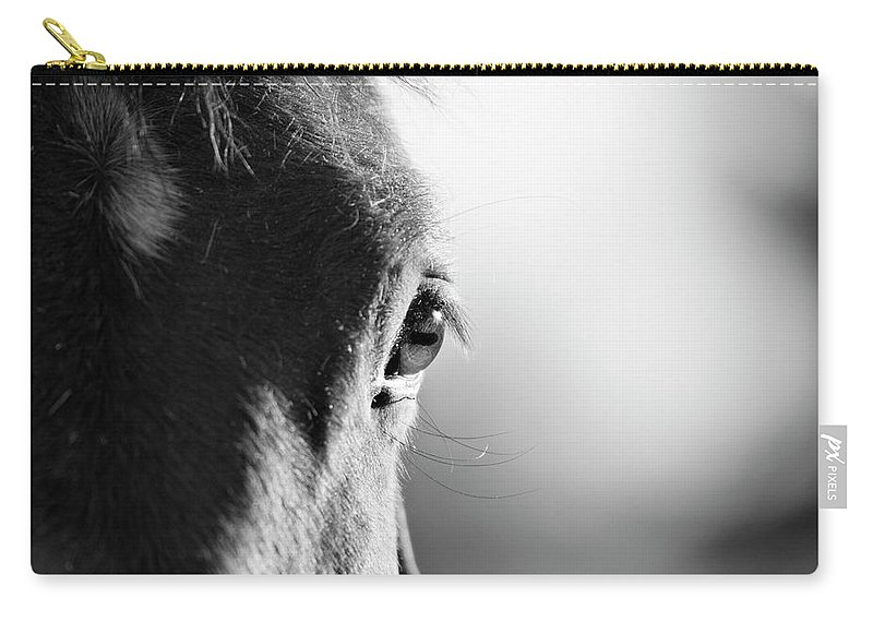 Horse Carry-all Pouch featuring the photograph Horse In Black And White by Malcolm Macgregor