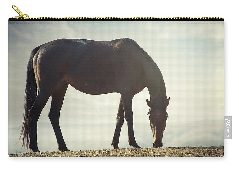 Horse Carry-all Pouch featuring the photograph Horse In Wild by Arman Zhenikeyev - Professional Photographer From Kazakhstan