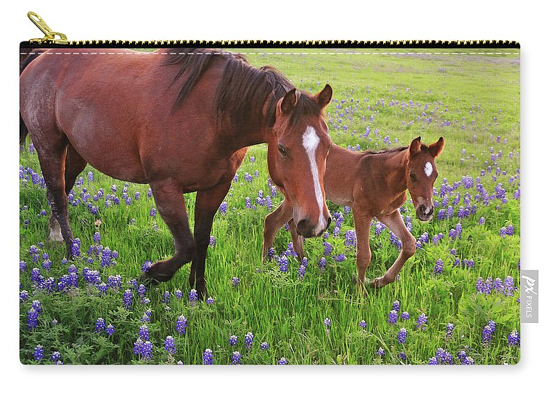 Horse Carry-all Pouch featuring the photograph Horse On Bluebonnet Trail by David Hensley
