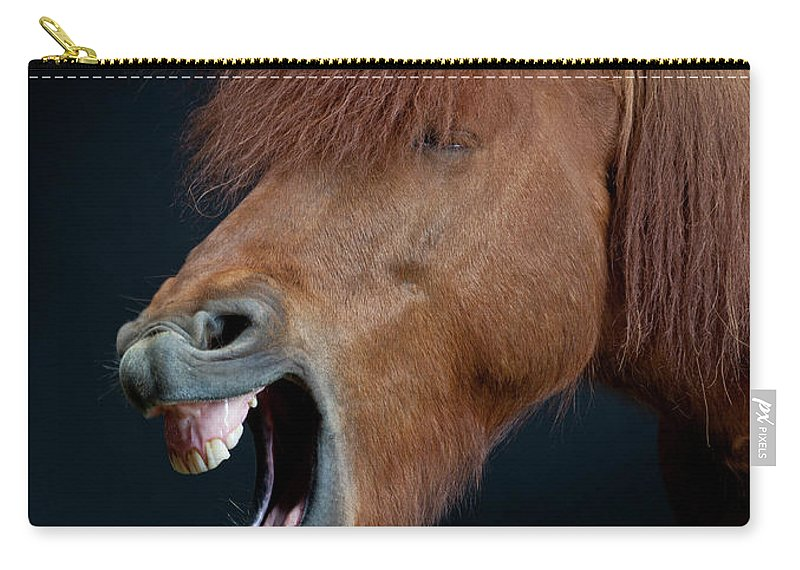 Horse Carry-all Pouch featuring the photograph Horse Showing Teeth, Laughing by Arctic-images