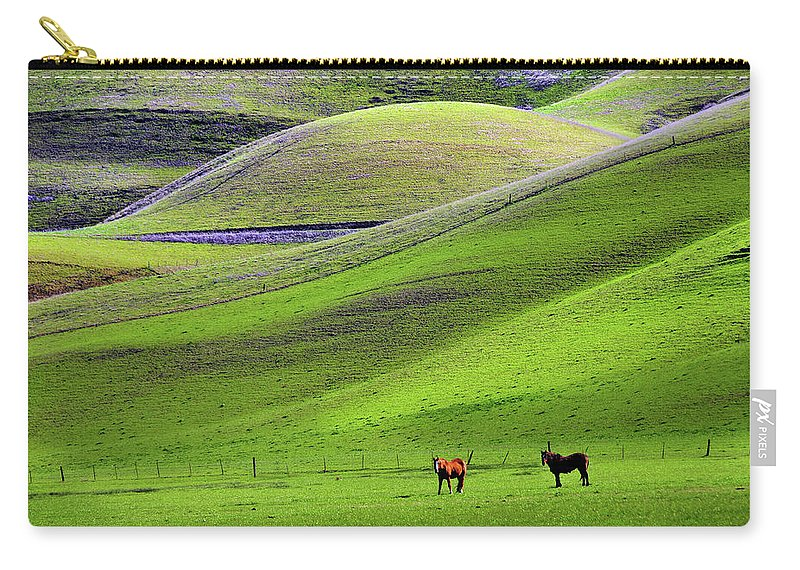Horse Carry-all Pouch featuring the photograph Horses In Hill Country by Mitch Diamond
