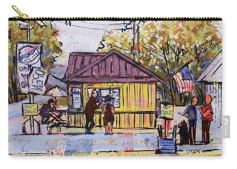 Hot Dog Carry-all Pouch featuring the painting Hot Dogz by Larry Lerew