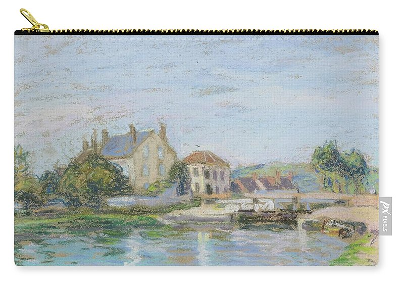 Alfred Sisley Carry-all Pouch featuring the painting Houses On The Bank Of Ecluse At The Gazonne by Alfred Sisley