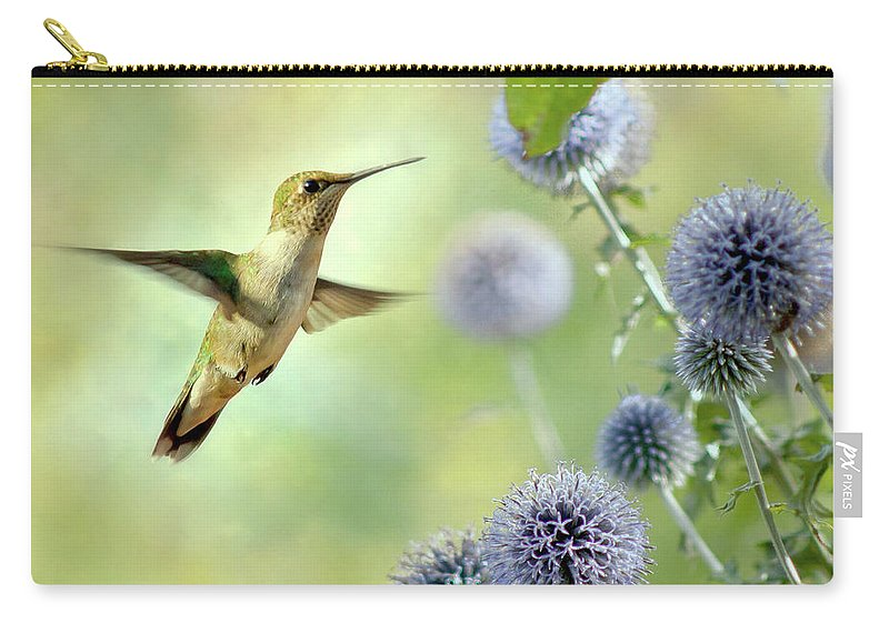 Animal Themes Carry-all Pouch featuring the photograph Hovering Hummingbird by Nancy Rose