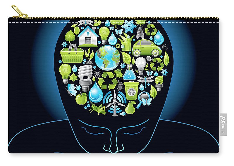 Expertise Carry-all Pouch featuring the digital art Human Head With Ecological Symbols In by O-che