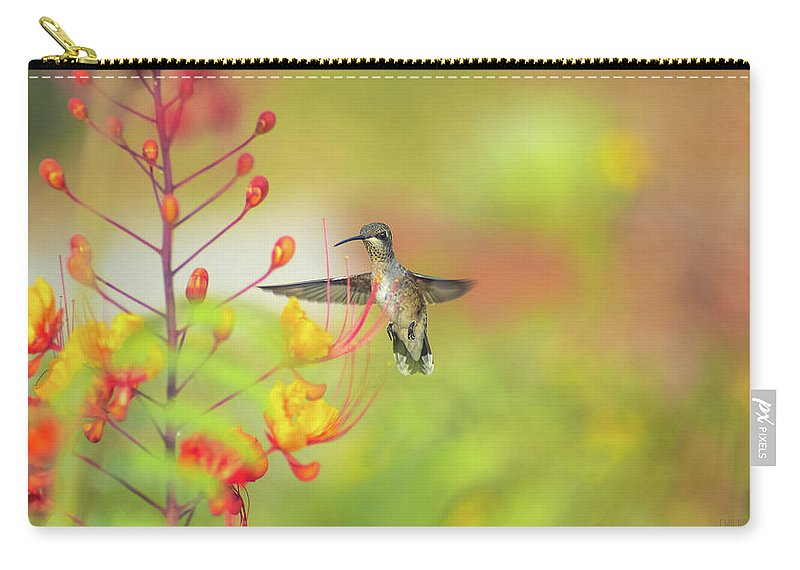 Hummingbird Carry-all Pouch featuring the photograph Hummingbird And Pride Of Barbados by Cecilio Martinez