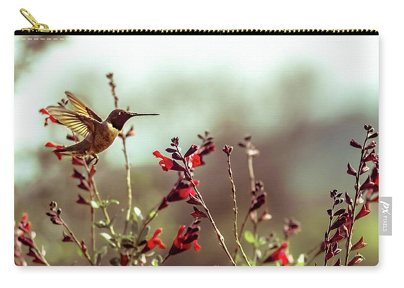 Hummingbird Carry-all Pouch featuring the photograph Hummingbird In Flight by Cecilio Martinez