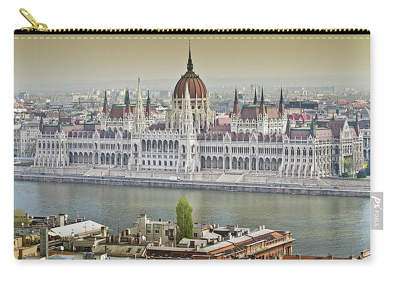 Hungarian Parliament Building Carry-all Pouch featuring the photograph Hungarian Parliament Building by (c) Thanachai Wachiraworakam